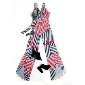 UNBRANDED RED AND BLACK STRIPED JUMPSUIT